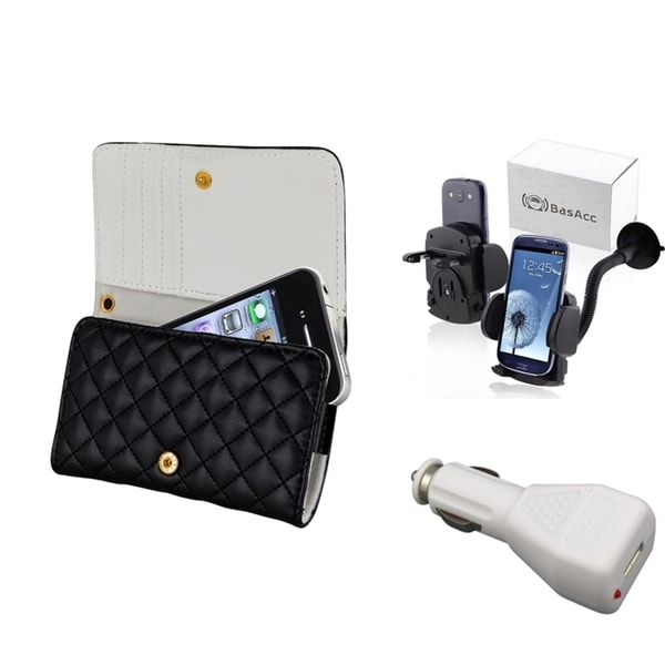 INSTEN Leather Case Cover/ Windshield Mount/ Charger for Apple iPhone 4/ 4S