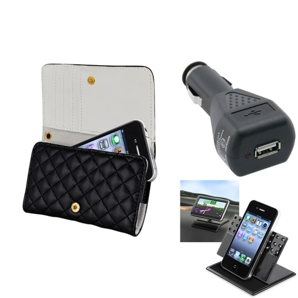 INSTEN Leather Phone Case Cover/ Dashboard Mount/ Charger for Apple iPhone 4/ 4S