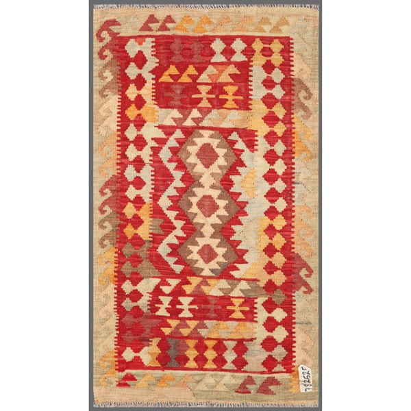 Afghan Hand-knotted Mimana Kilim Red/ Gray Wool Rug (2'8 x 4'9)