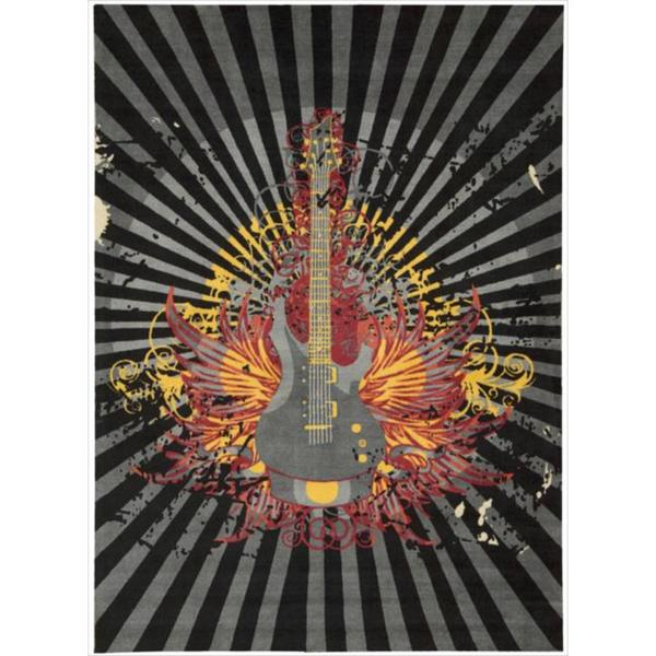 Altered State Edgy Guitar Grey Rug (5' x 7')