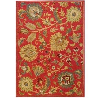 Herat Oriental Indo Hand-tufted Mahal Rust/ Green Wool Rug (5' x 7')