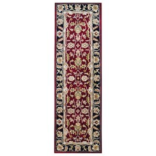 Herat Oriental Indo Hand-tufted Mahal Red/ Black Wool Rug (2'6 x 8')