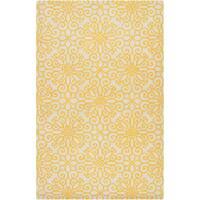 Hand-tufted YellowSuzani Sunflower Yellow Geometric Medallion Wool Area Rug (2' x 3') - 2' x 3'