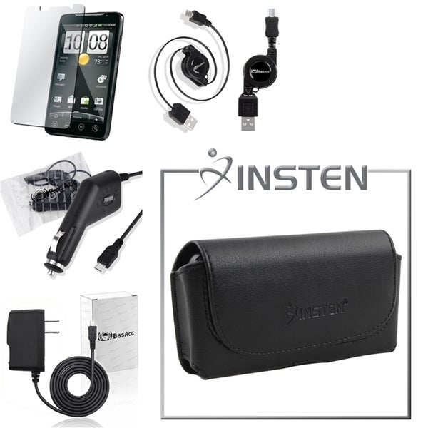 BasAcc INSTEN Leather Pouch Case/ Screen Protector/ Car Travel Charger/ Retractable USB Cable for Motorola Droid X MB810