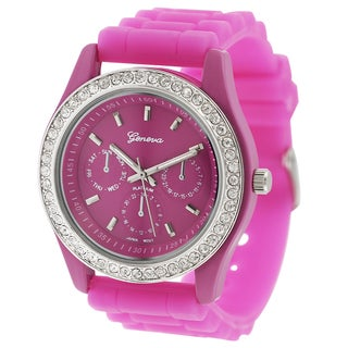 Geneva Platinum Women's Silicone Rhinestone Accent Watch