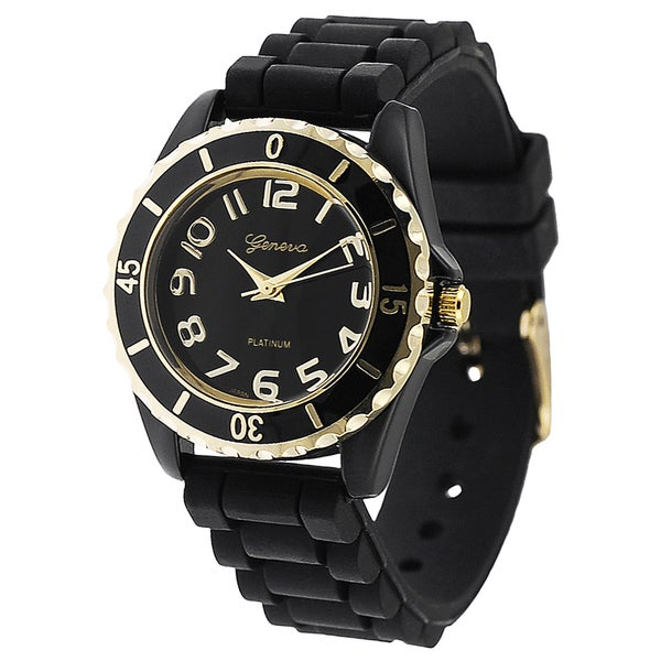 Geneva Platinum Women's Black and Gold Silicone Watch