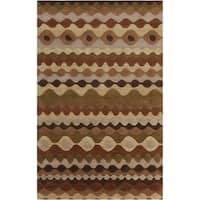 Hand-tufted BrownGeo Tea Leaves Geometric Shapes Wool Area Rug (8' x 11')
