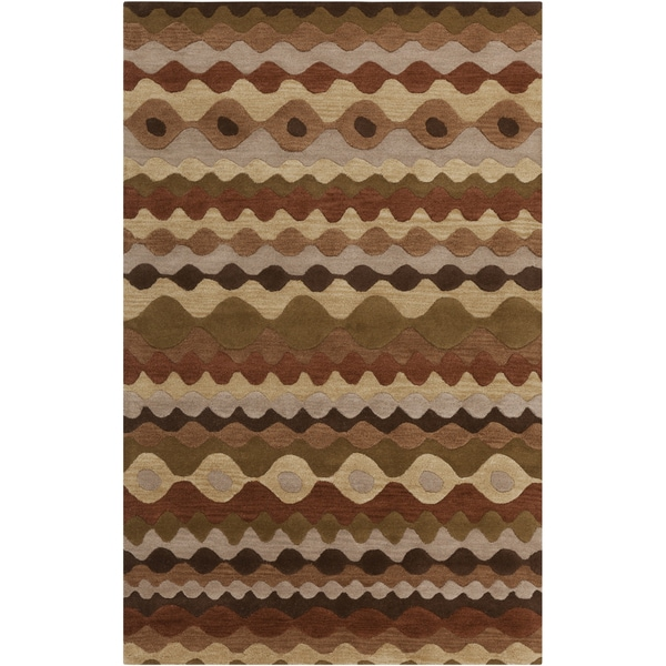 Hand-tufted BrownGeo Tea Leaves Geometric Shapes Wool Area Rug - 8' x 11'