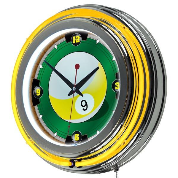 9 Ball 14-inch Neon Wall Clock