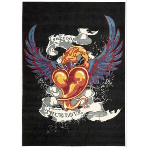 Altered State 'Tattoo Inspired Heart' Black Rug - 5' x 7'