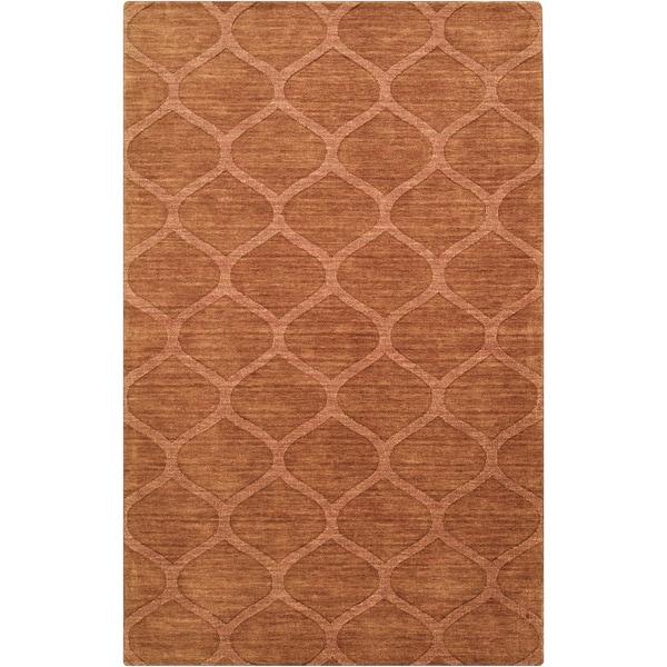Hand-crafted Solid Orange Lattice Willard Wool Rug (8' x 11')