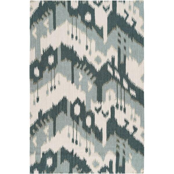 Hand-woven ikat Huancayo Green Wool Flatweave Rug (3'6 x 5'6)
