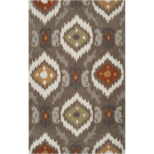 Hand-tufted Ikat Taupe Stone Area Rug - 3'6 x 5'6