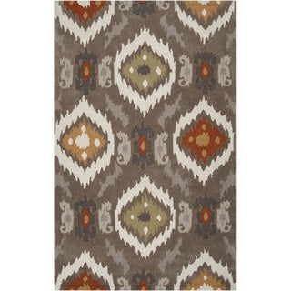 Hand-tufted Ikat Taupe Stone Rug (3'6 x 5'6)