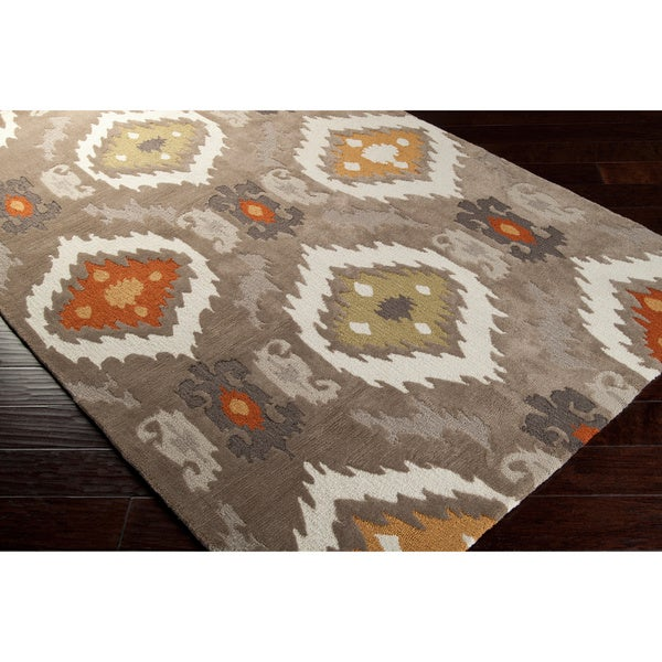 Hand-tufted Ikat Taupe Stone Area Rug - 5' x 8'