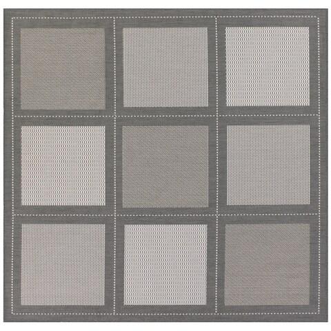 "Recife Summit Grey-White Indoor/Outdoor Square Rug - 7'6"" Square"