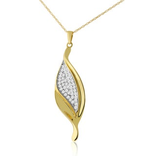 10k Two-tone Gold 1/3ct TDW Diamond Leaf Necklace