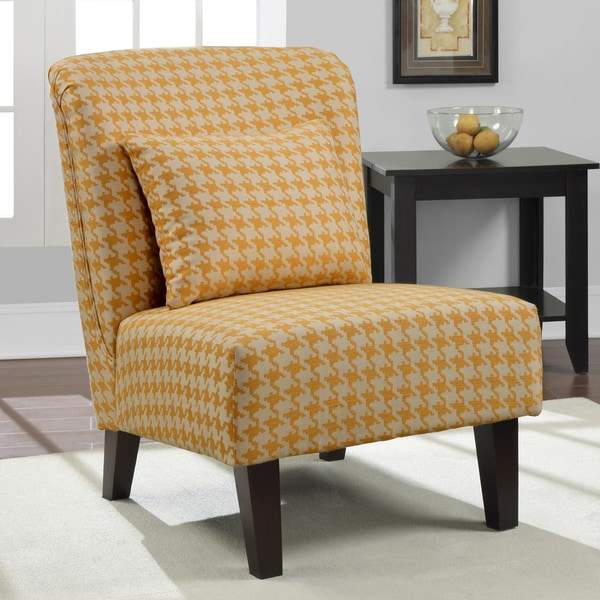 Shop Anna Yellow Houndstooth Accent Chair Free