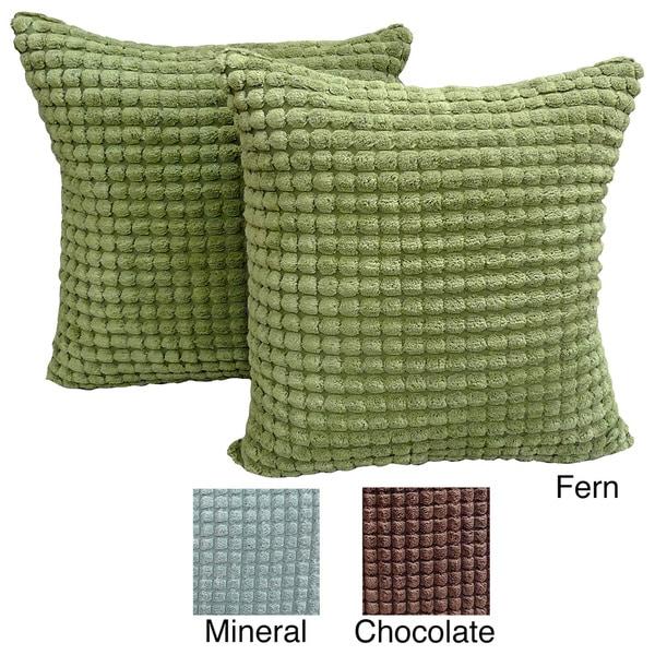 Luca Box Ribbed Plush 18x18 Throw Pillows (Set of 2)