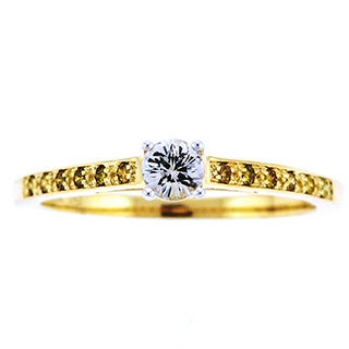 Beverly Hills Charm 14k Yellow Gold White Sapphire and 1/10ct TDW Yellow Diamonds Ring