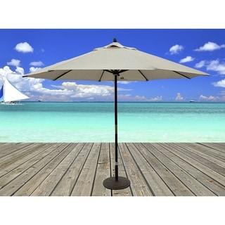 Dark Wood Market Umbrella With Beige Olefin Cover