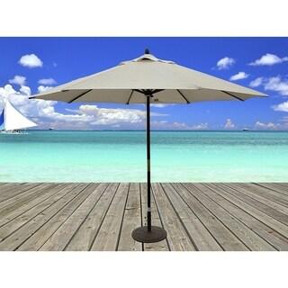 Delightful Dark Wood Market Umbrella With Beige Olefin Cover