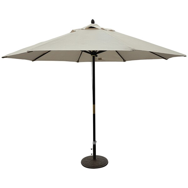 TropiShade 11 ft. Dark Wood Market Umbrella with Beige Olefin Cover