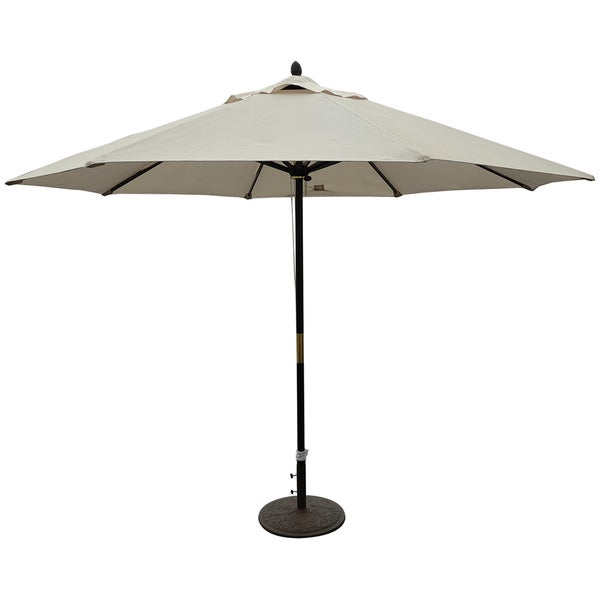 TropiShade 11 ft. Dark Wood Market Umbrella with Beige Olefin Cover