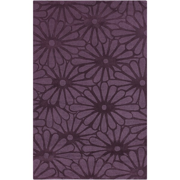 Hand-crafted Raisin Daisies Purple Floral Wool Rug (8' x 11')