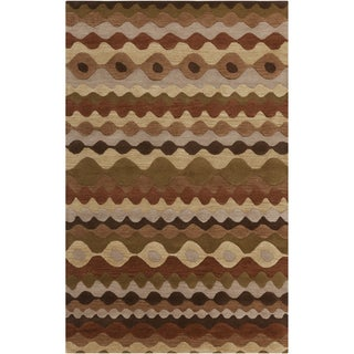 Hand-tufted Tea Leaves Brown Geometric Shapes Wool Rug (5' x 8')