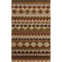 Hand-tufted Tea Leaves Brown Geometric Shapes Wool Area Rug - 5' x 8'
