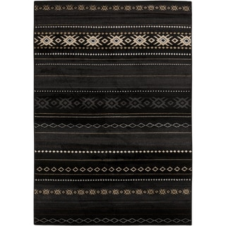 Meticulously Woven Black/Tan Southwestern Aztec Nomad Rug (7'9 x 11'2)
