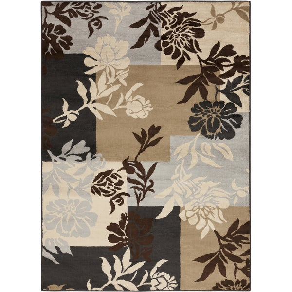 Floral Squares Chocolate Brown Rug (5'3 x 7'6)