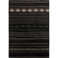 "The Curated Nomad Zanjero Black/ Tan Southwestern Aztec Area Rug - 5'3"" x 7'6"""