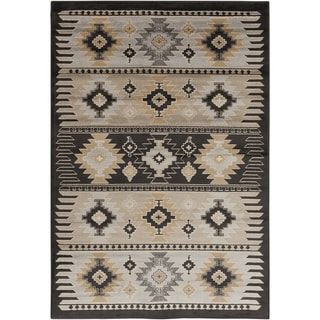 Meticulously Woven Black/Grey Southwestern Aztec Nomad Area Rug (2' x 3')