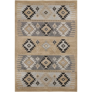 Meticulously Woven Southwestern Aztec Wheat Nomad Barley Area Rug (2' x 3')