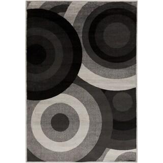 Black Circles Coal Black Area Rug (2' x 3')
