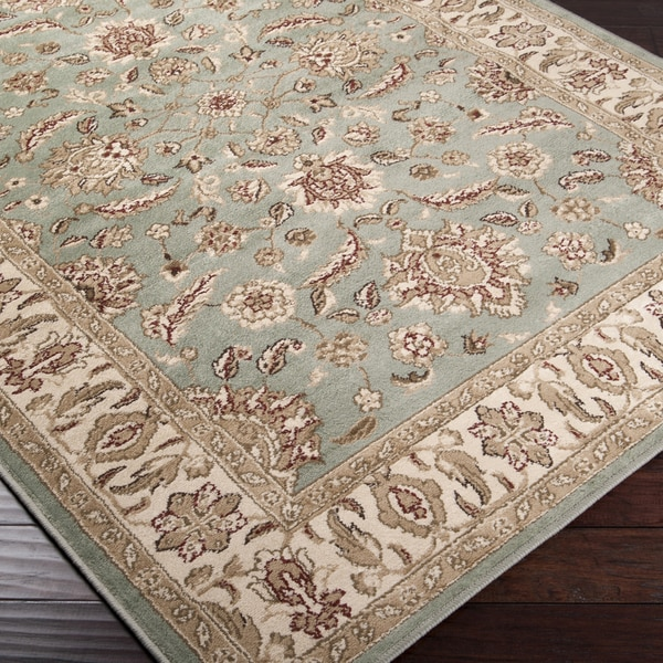 Seafoam Border Lily Pad Green Area Rug 2 X27