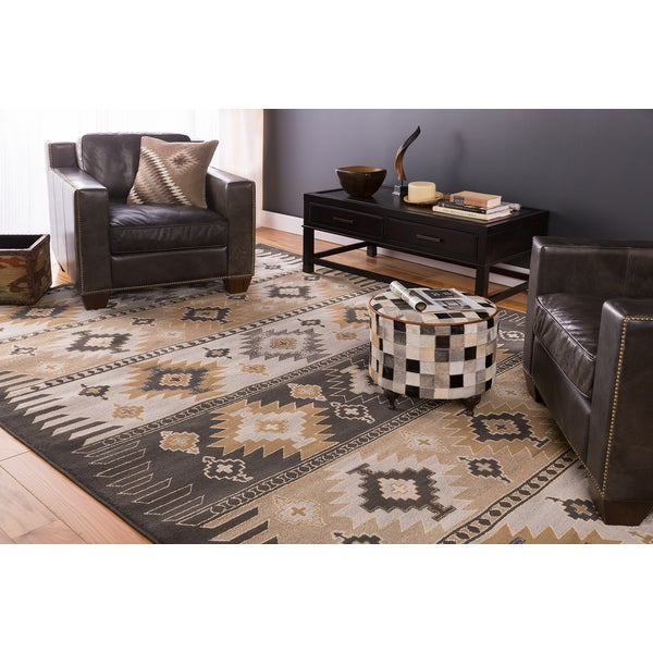 Meticulously Woven Black/Grey Southwestern Aztec Nomad Area Rug (7'9 x 11'2)