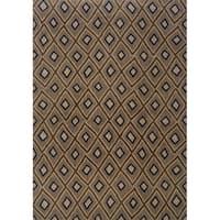 Indoor Grey and Brown Geometric Area Rug - 5'3 x 7'6