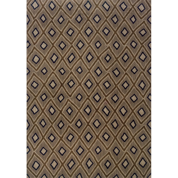 Indoor Grey and Brown Geometric Area Rug - 5'3 x 7'6