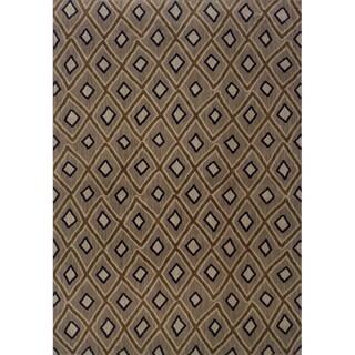 Indoor Grey and Brown Geometric Area Rug (1'10 X 3'3)
