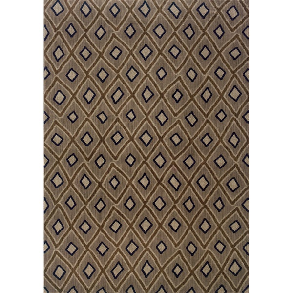 Indoor Grey and Brown Geometric Area Rug - 9'10 x 12'10