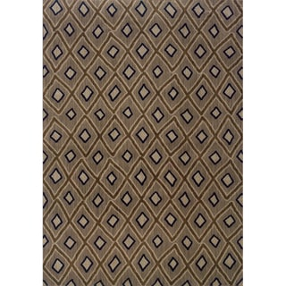 Indoor Grey and Brown Geometric Area Rug (7'8 X 10'10)