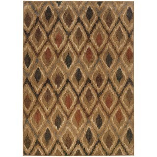 Indoor Gold and Beige Geometric Area Rug (7'8 X 10'10)