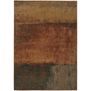 Indoor Orange Multicolored Abstract Area Rug (3'10 X 5'5)
