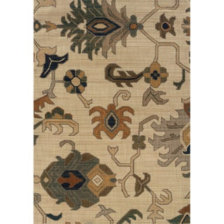 Indoor Ivory and Grey Tribal Printed Area Rug (6'7 X 9'6) - Thumbnail 0