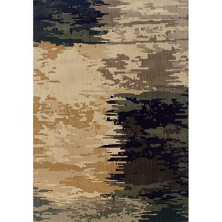 Indoor Blue and Ivory Abstract Area Rug (1'10 X 3'3)