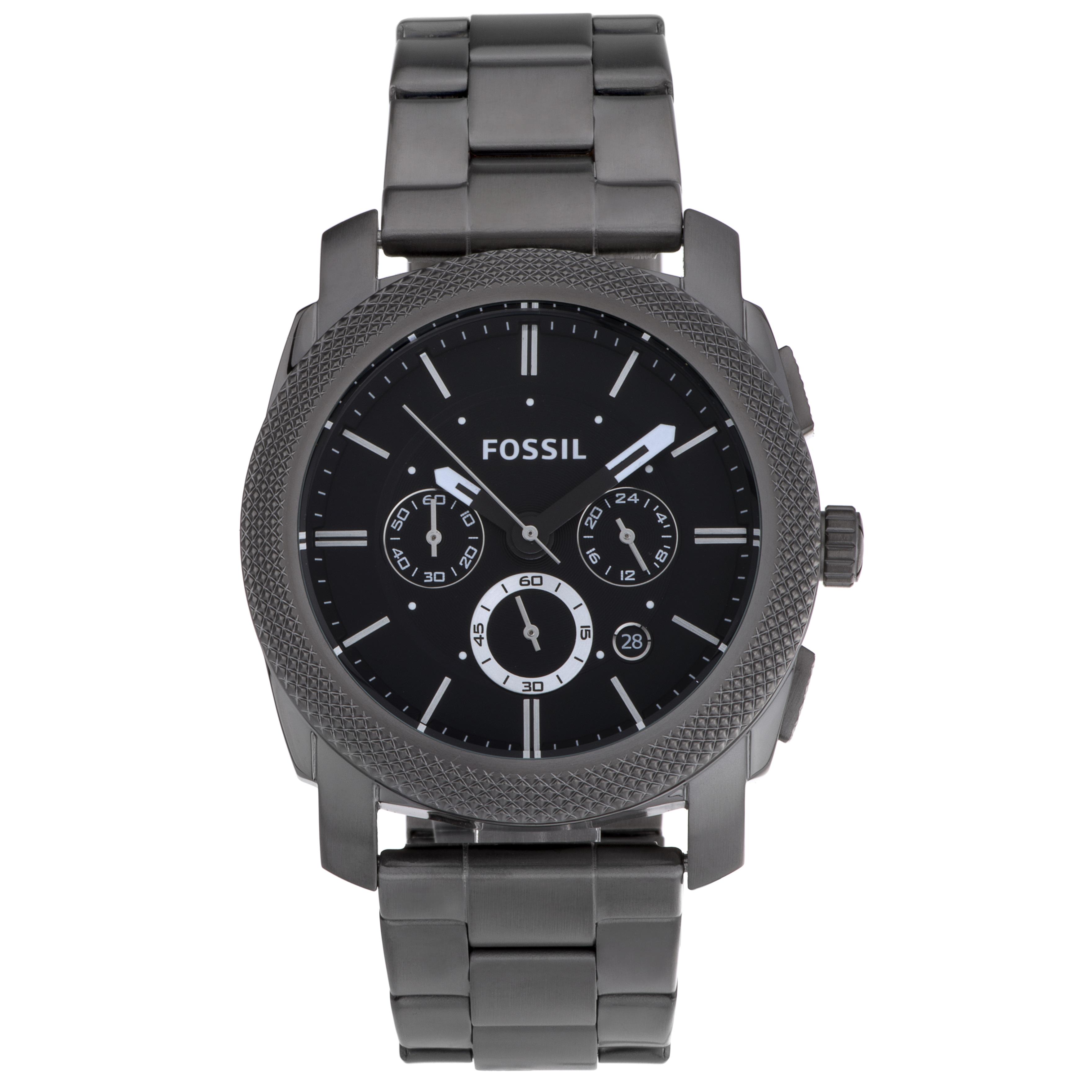 Fossil Men's FS4662 Machine Stainless Steel Watch, Black,...