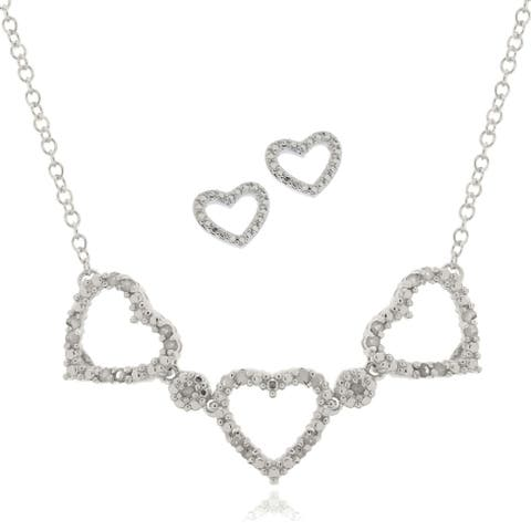 Finesque Silver Overlay 1/4ct TDW Diamond Heart Jewelry Set